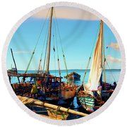 Sleepy Sail Boats Zanzibar Round Beach Towel