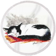 Sleepy Time Boy Round Beach Towel