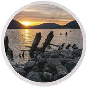 Sleepy Waterfront Dream Round Beach Towel by Angelo Marcialis