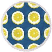 Sliced Lemons On Blue- Art By Linda Woods Round Beach Towel