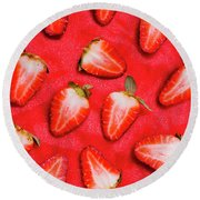 Sliced Red Strawberry Background Round Beach Towel