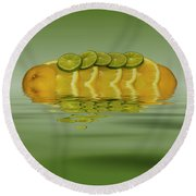 Round Beach Towel featuring the photograph Slices Orange Lime Citrus Fruit by David French