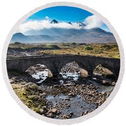 Round Beach Towel featuring the photograph Skye Cuillin From Sligachan by Gary Eason