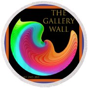 Round Beach Towel featuring the photograph Slinky Dove Of Peace-the Gallery Wall Logo by Wendy Wilton