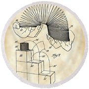 Slinky Patent 1946 - Vintage Round Beach Towel by Stephen Younts
