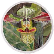 Round Beach Towel featuring the painting Slipper Foot Aladdin by Mindy Newman