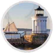 Round Beach Towel featuring the photograph Sloop And Lighthouse, South Portland, Maine  -56170 by John Bald