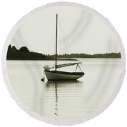 Sloop At Rest  Round Beach Towel