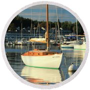 Round Beach Towel featuring the photograph Sloop Reflections by Roupen  Baker