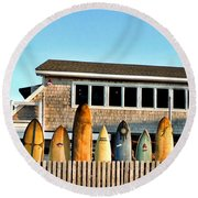 Sloppy Tuna Restaurant, Montauk Long Island Round Beach Towel by Joan  Minchak