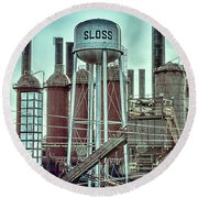 Sloss Furnaces Tower 3 Round Beach Towel