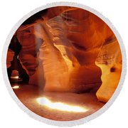 Slot Canyon Warm Light Round Beach Towel