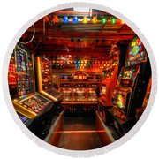 Slot Machines Round Beach Towel