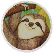 Sloth And Frog Round Beach Towel