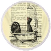 Sloth, Funny Children's Art, Bathroom Decor Round Beach Towel