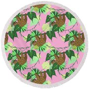 Sloth - Green On Pink Round Beach Towel