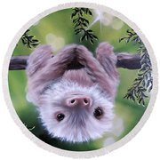 Sloth'n 'around Round Beach Towel