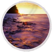 Round Beach Towel featuring the photograph Slow Ocean Sunset by T Brian Jones