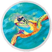 Slow Ride Round Beach Towel