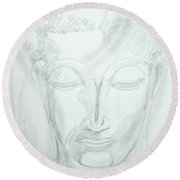 Round Beach Towel featuring the drawing Slumbering Buddha by Sharyn Winters