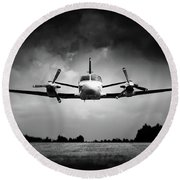 Small Airplane Low Flyby Round Beach Towel