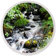 Small Alaskan Waterfall Round Beach Towel
