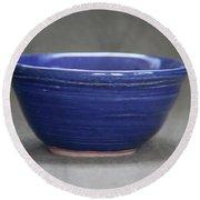 Small Blue Ceramic Bowl Round Beach Towel