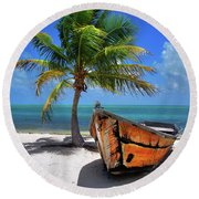 Small Boat And Palm Tree On White Sandy Beach In The Florida Keys Round Beach Towel