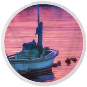Small Boat At Dawn Havana Cuba  Round Beach Towel