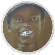 Small Boy, Big Grin -- Retro Portrait Of Black Boy Round Beach Towel