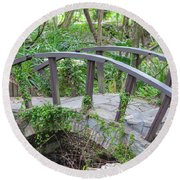 Round Beach Towel featuring the photograph Small Brown Bridge by Raphael Lopez