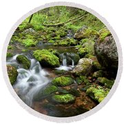 Small Creek On Velhopolku Trail Round Beach Towel
