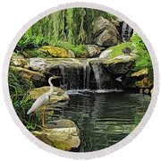 Small Creek Waterfall With Wildlife Round Beach Towel