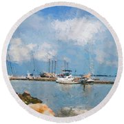 Small Dock With Boats Round Beach Towel