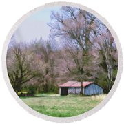 Small Farm Building Round Beach Towel