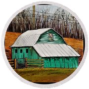 Round Beach Towel featuring the painting Small Green Barn With Quilted Window by Jim Harris