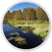 Small Lake In Levi Round Beach Towel