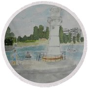 Small Lighthouse One Belmore Basin Round Beach Towel