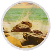 Small Ocean Waves,large Rocks. Round Beach Towel