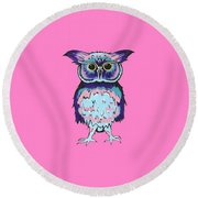 Small Owl Pink Round Beach Towel