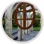 Round Beach Towel featuring the photograph Small Park With Arches by Michiale Schneider