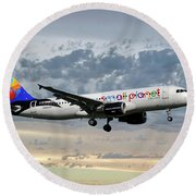 Small Planet Airlines Airbus A320-214 Round Beach Towel