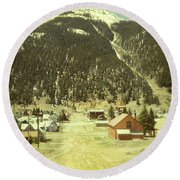 Round Beach Towel featuring the photograph Small Rocky Mountain Town by Jill Battaglia