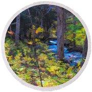 Small Stream Through Autumn Woods Round Beach Towel
