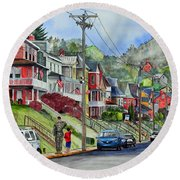 Small Town, America Round Beach Towel