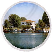 Small Town In Greece Round Beach Towel