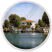 Small Town In Greece Round Beach Towel by Milena Ilieva