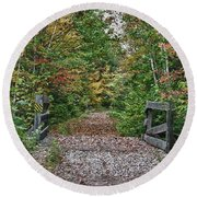 Round Beach Towel featuring the photograph Small Trestle Along Rail Trail by Jeff Folger