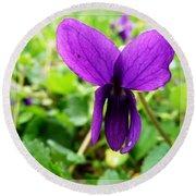 Small Violet Flower Round Beach Towel