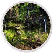Round Beach Towel featuring the photograph Small Waterfall by Elena Elisseeva